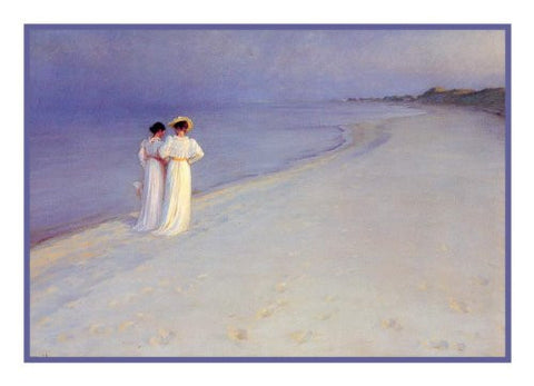 Scandinavian Artist Peder Severin Kroyers painting of An Afternoon Walk on Skagen Beach Counted Needlepoint Chart