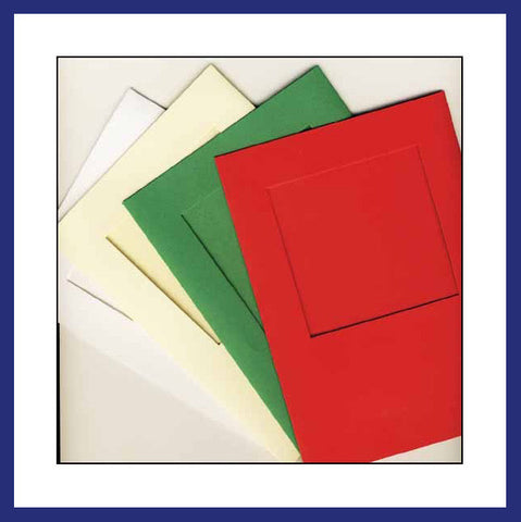 LARGE NEEDLEWORK CARDS. SQUARE OPENING.......Red