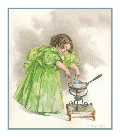 Young Girl Miss Cooking by Maud Humphrey Bogart Counted Cross Stitch Pattern