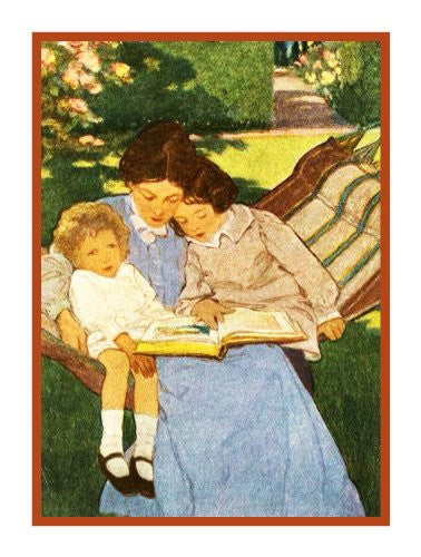 Reading Fairytales with Mother By Jessie Willcox Smith Counted Cross Stitch or Counted Needlepoint Pattern