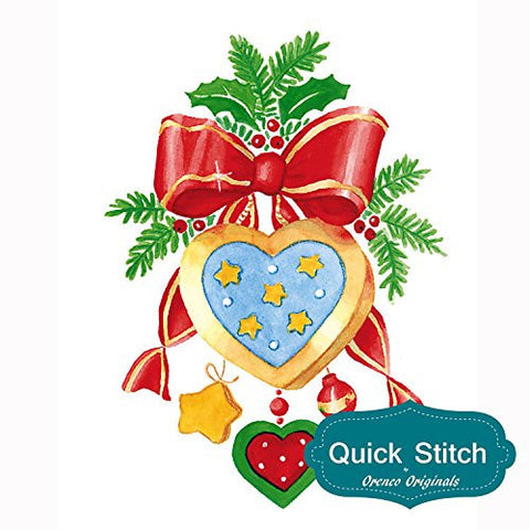 Quick Stitch Country Christmas Heart Decoration Counted Cross Stitch or Counted Needlepoint Pattern