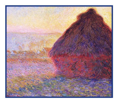 Haystack at Giverny inspired by Claude Monet's impressionist painting Counted Cross Stitch or Counted Needlepoint Pattern