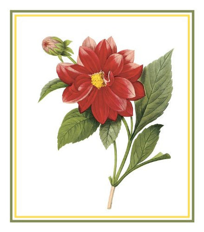 Dahlia Flower Inspired by Pierre-Joseph Redoute Counted Cross Stitch or Counted Needlepoint Pattern
