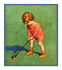 Young Boy Practing His Golf Swing By Jessie Willcox Smith Counted Cross Stitch or Counted Needlepoint Pattern
