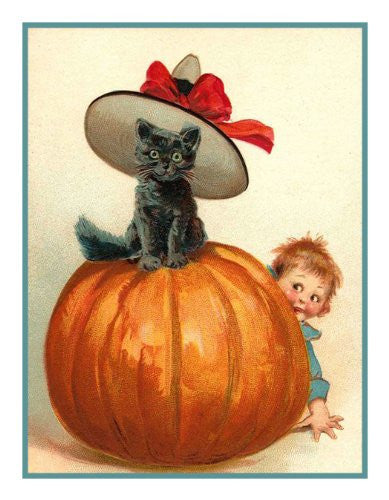 Victorian Halloween Black Cat with Hat on Pumpkin with Child Counted Cross Stitch or Counted Needlepoint Pattern