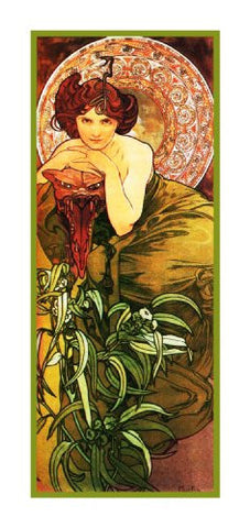 Precious Stones Emerald by Alphonse Mucha Counted Cross Stitch Pattern