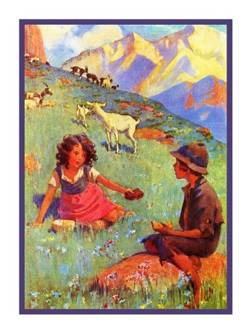 Heidi and Peter in the Field By Jessie Willcox Smith Counted Cross Stitch Pattern