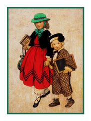 On Their Way To School By Jessie Willcox Smith Counted Cross Stitch or Counted Needlepoint Pattern