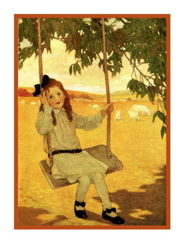 Young Lady Swinging with Lambs By Jessie Willcox Smith Counted Cross Stitch Pattern