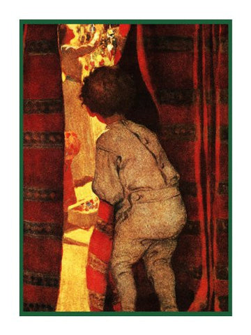 Child Peeking at The Christmas Magic By Jessie Willcox Smith Counted Cross Stitch or Counted Needlepoint Pattern