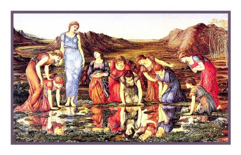 The Mirror of Venus by Arts and Crafts Edward Burne-Jones Counted Cross Stitch Pattern