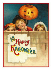 Victorian Halloween Pumpkin Children Happy Halloween! Counted Cross Stitch or Counted Needlepoint Pattern
