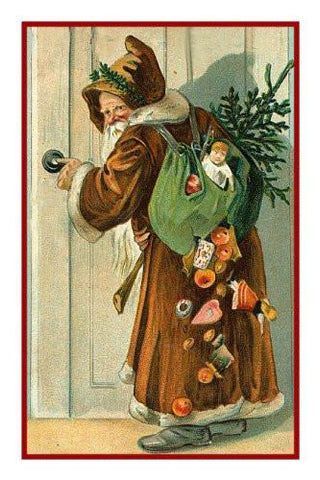 Victorian Father Christmas Naturalist Santa with Bag of Presents Gifts Counted Cross Stitch Pattern Digital Download