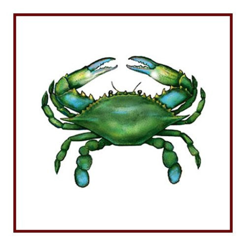 Nautical Seashore Green Blue Crab Counted Cross Stitch or Counted Needlepoint Pattern