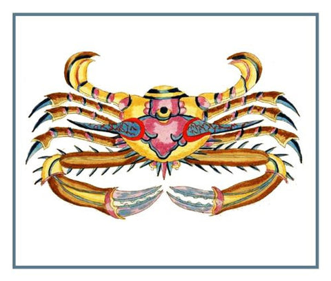 Fallours' Renard's Fantastic Colorful Tropical Crab Krabbe Counted Cross Stitch Pattern