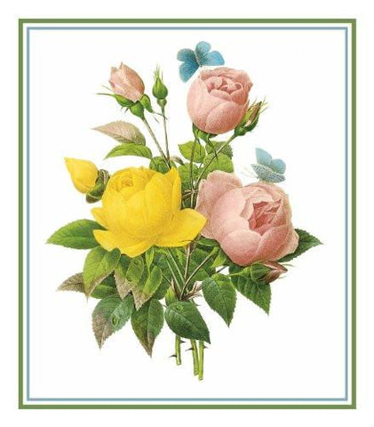 Rose Bouquet Flower Inspired by Pierre-Joseph Redoute Counted Cross Stitch Pattern DIGITAL DOWNLOAD