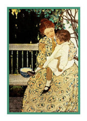 Mother Feeding Baby on The Porch By Jessie Willcox Smith Counted Cross Stitch or Counted Needlepoint Pattern