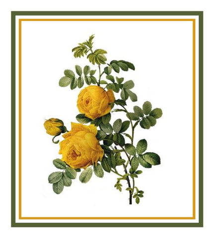 Sulfur Rose Flower Inspired by Pierre-Joseph Redoute Counted Cross Stitch Pattern