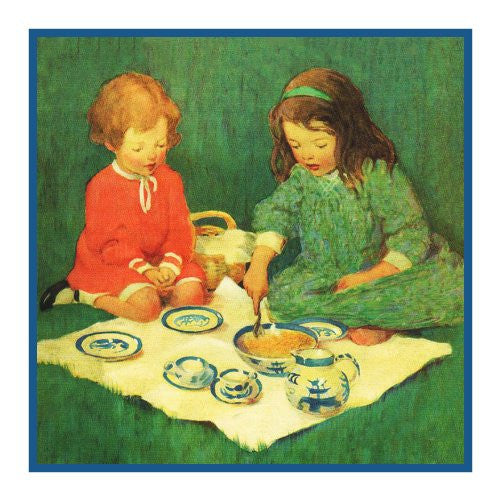 A Tea Party Picnic By Jessie Willcox Smith Counted Cross Stitch or Counted Needlepoint Pattern