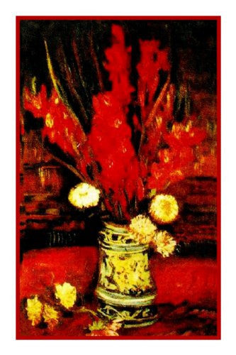 Vase with Red Gladioli inspired by Impressionist Vincent Van Gogh's Painting Counted Cross Stitch or Counted Needlepoint Pattern