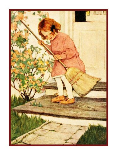 Little Girl Sweeping Front Steps By Jessie Willcox Smith Counted Cross Stitch or Counted Needlepoint Pattern