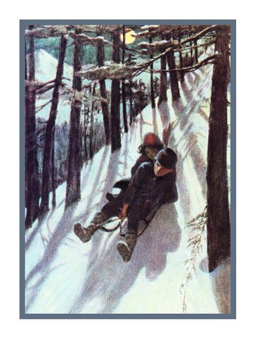 Heidi and Peter Sledding By Jessie Willcox Smith Counted Cross Stitch Pattern