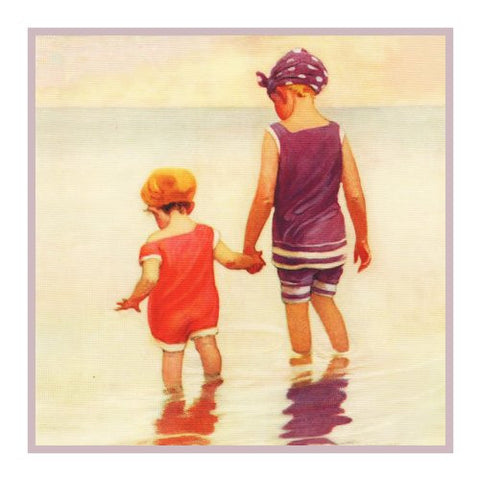 Getting Your Feet Wet At The Beach By Jessie Willcox Smith Counted Cross Stitch or Counted Needlepoint Pattern