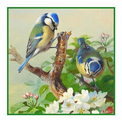Bluetits and Blossoms By Naturalist Archibald Thorburn's Counted Cross Stitch Pattern Digital Download