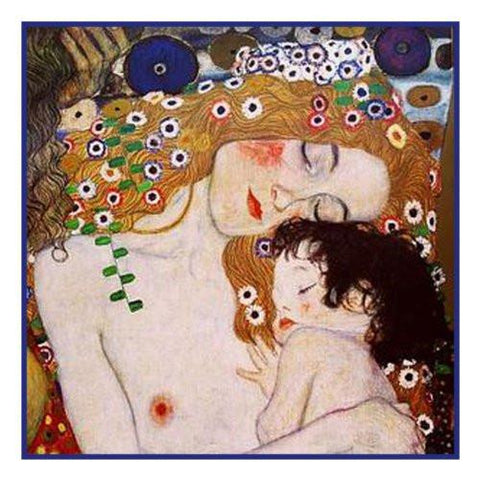 Mother and Child detail of the 3 stages of woman inspired by Gustav Klimt Counted Cross Stitch Pattern DIGITAL DOWNLOAD