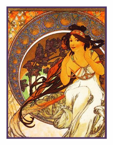 The Arts Music by Alphonse Mucha Counted Cross Stitch or Counted Needlepoint Pattern