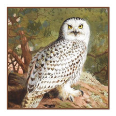Snowy Owl By Naturalist Archibald Thorburn's Counted Cross Stitch or Counted Needlepoint Pattern