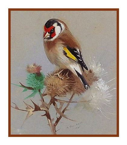 Goldfinch and Thistle by Naturalist Archibald Thorburn's Bird Counted Cross Stitch or Counted Needlepoint Pattern