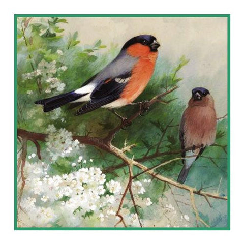 Pair of Bullfinches By Naturalist Archibald Thorburn's Bird Counted Cross Stitch or Counted Needlepoint Pattern