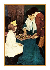Playing Checkers with Mother By Jessie Willcox Smith Counted Cross Stitch or Counted Needlepoint Pattern
