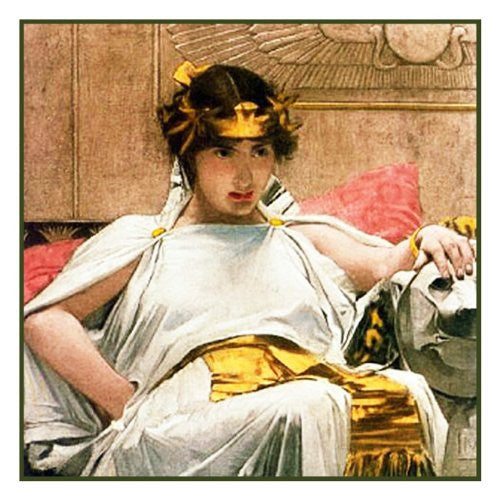 Cleopatra inspired by John William Waterhouse Counted Cross Stitch or Counted Needlepoint Pattern - Orenco Originals LLC