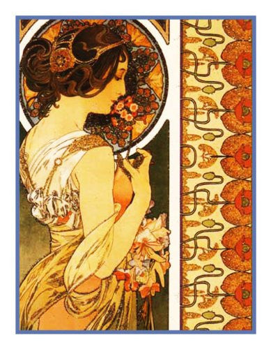 Cowslip by Alphonse Mucha Counted Cross Stitch  Pattern - Orenco Originals LLC
