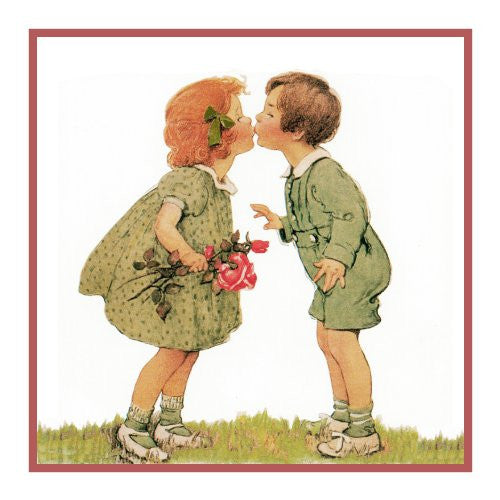 Boy and Girl Exchanging A Kiss By Jessie Willcox Smith Counted Cross Stitch or Counted Needlepoint Pattern
