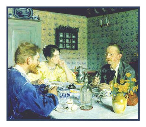 Scandinavian Artist Peder Severin Kroyers Painting of The Kroyers and Otto Benzon at Lunch Counted Needlepoint Chart