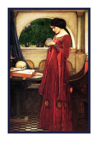The Crystal Ball inspired by John William Waterhouse Counted Cross Stitch or Counted Needlepoint Pattern