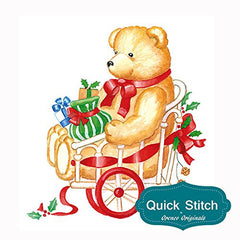 Quick Stitch Country Christmas Teddy Bear Cart Counted Cross Stitch or Counted Needlepoint Pattern