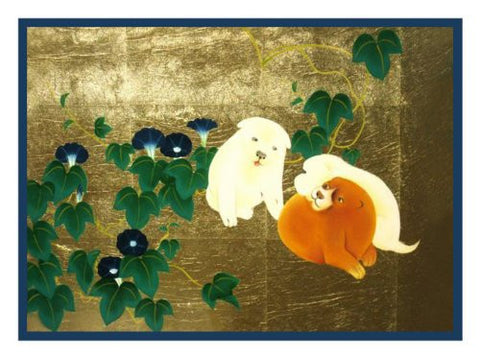 Morning Glories and Puppies by Japanese artist Maruyama Okyo Counted Cross Stitch Pattern