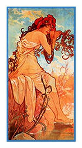The Seasons Summer by Alphonse Mucha Counted Cross Stitch Pattern DIGITAL DOWNLOAD