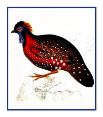 Crimson Horned Pheasant by Naturalist John Gould Birds Counted Cross Stitch or Counted Needlepoint Pattern