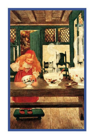Goldilocks Samples The Porridge By Jessie Willcox Smith Counted Cross Stitch or Counted Needlepoint Pattern
