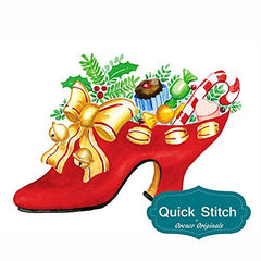 Quick Stitch Country Christmas High Heel Shoe with Goodies Counted Cross Stitch or Counted Needlepoint Pattern