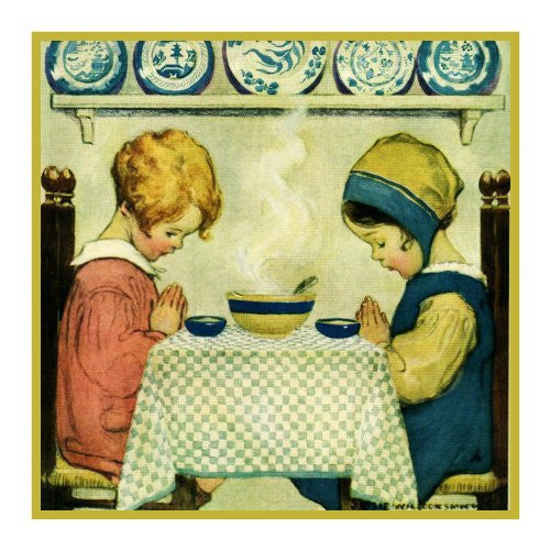 Young Girls Saying Grace By Jessie Willcox Smith Counted Cross Stitch or Counted Needlepoint Pattern
