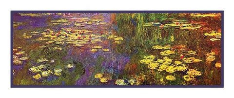 Golden Water Lilies Runner inspired by Claude Monet's impressionist painting Counted Cross Stitch Pattern