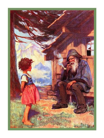 Heidi and Grandfather Chat By Jessie Willcox Smith Counted Cross Stitch Pattern