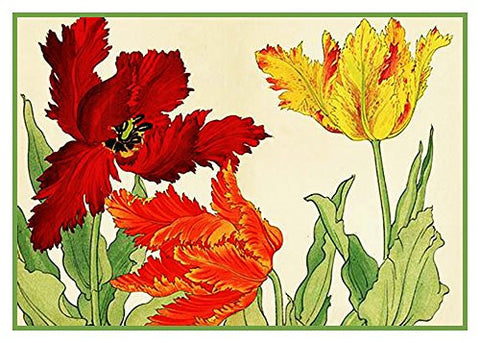Tanigami Konan Asian Parrot Tulip Flowers Counted Cross Stitch or Counted Needlepoint Pattern