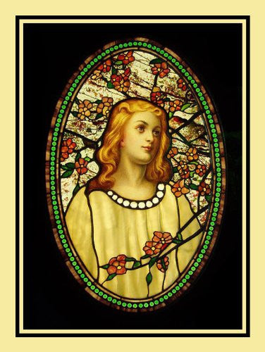 Angelic Girl Flower Blossoms inspired by Louis Comfort Tiffany  Counted Cross Stitch  Pattern - Orenco Originals LLC